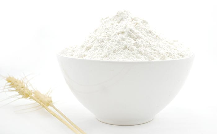 bowl of flour for baking bread