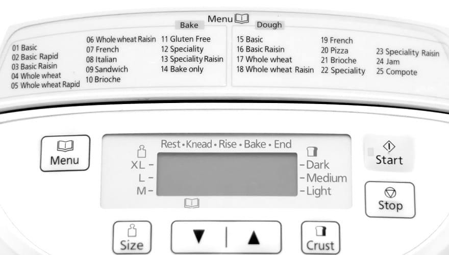preprogrammed menus on bread machine
